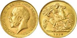 Ancient Coins - Coin, Great Britain, George V, 1/2 Sovereign, 1914, , Gold, KM:819