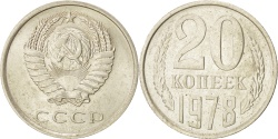 World Coins - RUSSIA, 20 Kopeks, 1978, KM #132, , Copper-Nickel-Zinc, 22, 3.27
