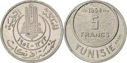 World Coins - TUNISIA, 5 Francs, 1954, Paris, KM #E31, , Copper-Nickel, Lecompte...