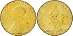 World Coins - VATICAN CITY, 20 Lire, 1965, KM #80.2, , Aluminum-Bronze, 21.25, 3.56