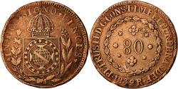 World Coins - Coin, Brazil, Pedro II, 80 Reis, 1832, Rio de Janeiro, EF(40-45), Copper, KM:379