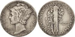 Us Coins - United States, Mercury Dime, Dime, 1920, U.S. Mint, Denver, VF(30-35), Silver