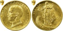 World Coins - Coin, Italy, Vittorio Emanuele III, 100 Lire, 1931, Rome, PCGS, MS62, Gold