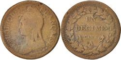 World Coins - France, Dupré, Decime, 1796, Paris, , Bronze, KM:644.1, Gadoury:187