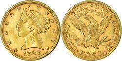 Us Coins - Coin, United States, Coronet Head, $5, Half Eagle, 1892, Philadelphia