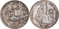 World Coins - Coin, Peru, SOUTH PERU, Sol, 1874, Lima, , Silver, KM:196.3