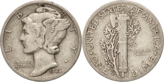 US Coins - United States, Mercury Dime, Dime, 1944, U.S. Mint, Denver, VF(30-35), Silver