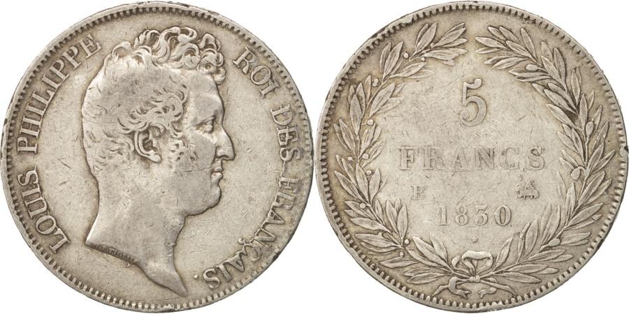 World Coins - France, Louis-Philippe, 5 Francs, 1830, Rouen, , Silver, KM:735.2