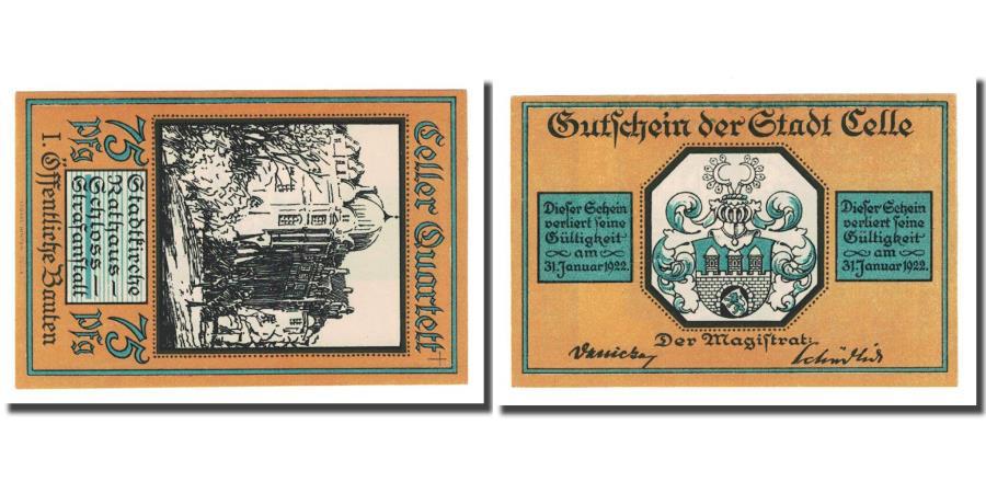 World Coins - Banknote, Germany, Celle, 75 Pfennig, Blason, 1922, UNC(63), Mehl:226.1