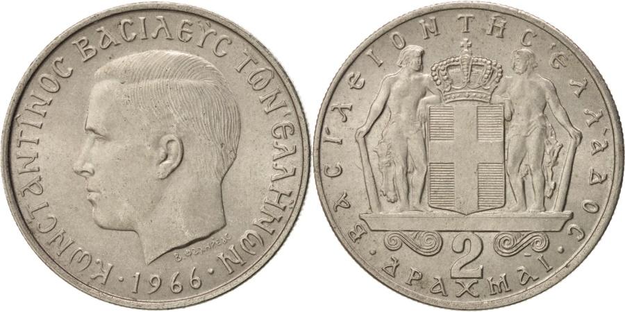 World Coins - Greece, Constantine II, 2 Drachmai, 1966, , Copper-nickel, KM:90