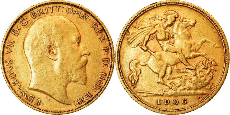 World Coins - Coin, Great Britain, Edward VII, 1/2 Sovereign, 1906, , Gold, KM:804
