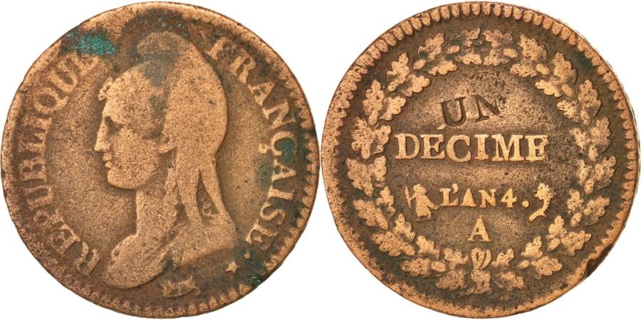 World Coins - FRANCE, Dupré, Decime, 1795, Paris, KM:637.1, , Bronze