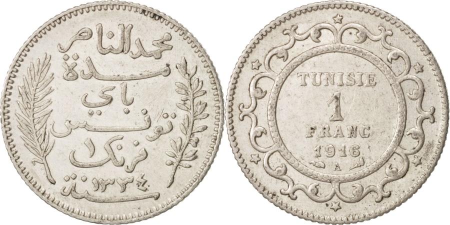 World Coins - Tunisia, Muhammad al-Nasir Bey, Franc, 1916, Paris, , Silver, KM:238