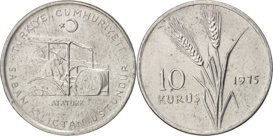 World Coins - Turkey, 10 Kurus, 1975, , Aluminum, KM:898a
