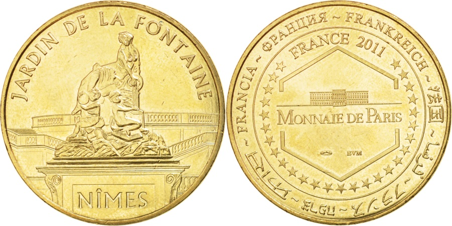 World Coins - France, Tourist Token, 30/ Jardin de la Fontaine - Nîmes, 2011, Monnaie de Paris
