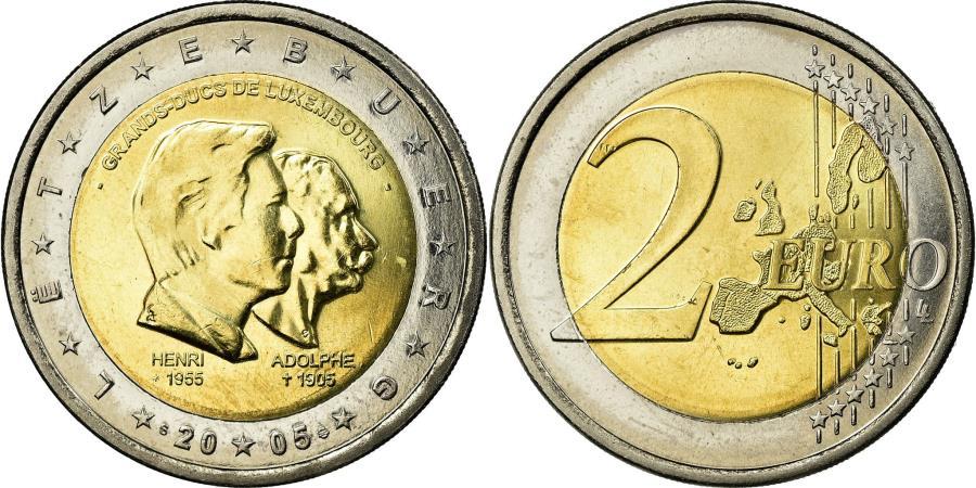 World Coins - Luxembourg, 2 Euro, Conjoined heads, 2005, , Bi-Metallic, KM:87
