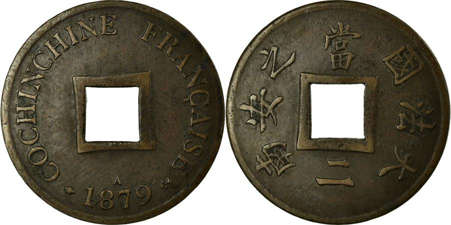 World Coins - Coin, FRENCH COCHIN CHINA, 2 Sapeque, 1879, Paris, EF(40-45), Bronze, Lecompte:9