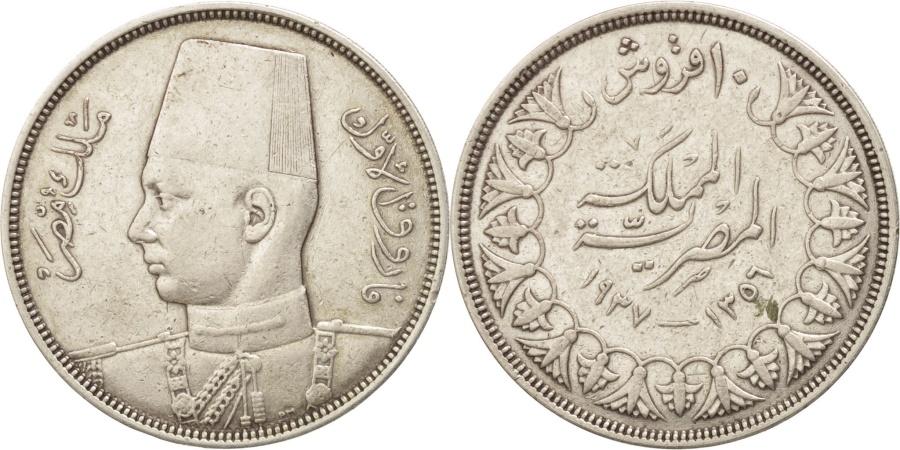 World Coins - Egypt, Farouk, 10 Piastres, 1937, British Royal Mint, , Silver, KM:367