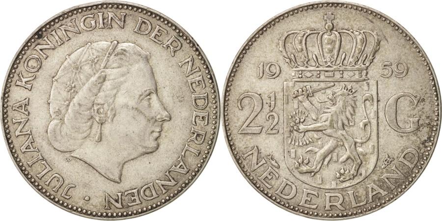 World Coins - Netherlands, Juliana, 2-1/2 Gulden, 1959, , Silver, KM:185