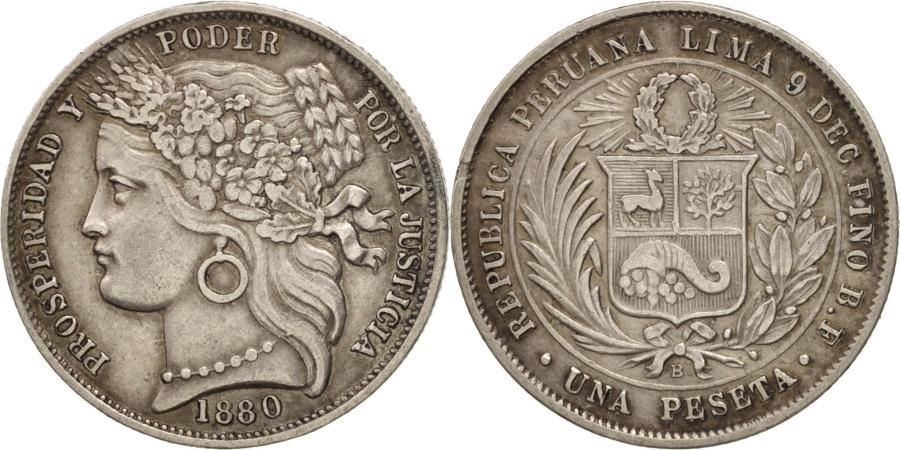 World Coins - Peru, Peseta, 1880, Lima, , Silver, KM:200.2