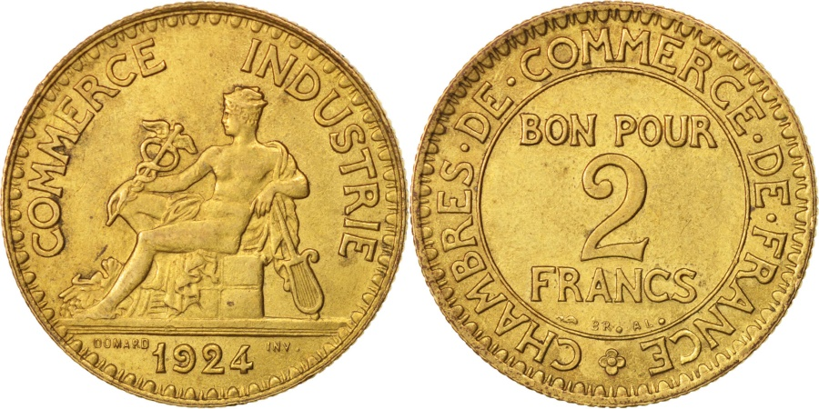 World Coins - France, Chambre de commerce, 2 Francs, 1924, Paris, , Aluminum-Bronze