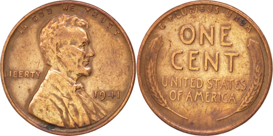 US Coins - UNITED STATES, Lincoln Cent, Cent, 1941, U.S. Mint, KM #132, , Bronze,.
