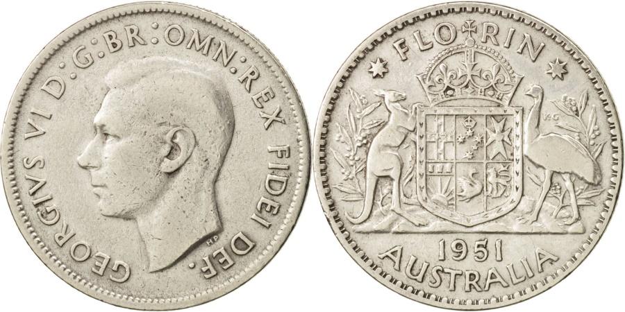 World Coins - Australia, George VI, Florin, 1951, Melbourne, , Silver, KM:48