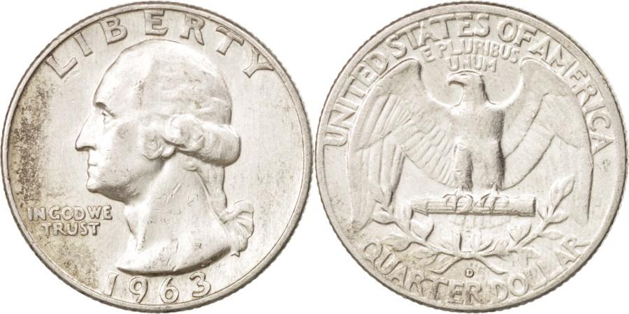 US Coins - United States, Washington Quarter, Quarter, 1963, U.S. Mint, Denver