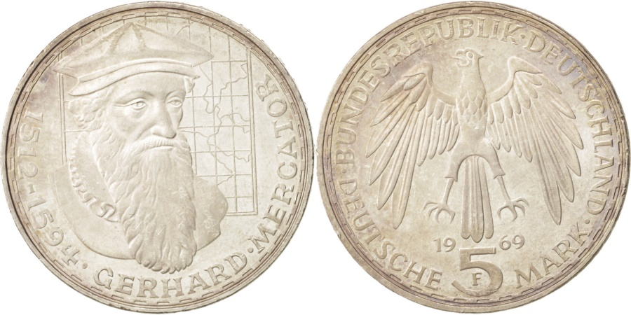 World Coins - GERMANY - FEDERAL REPUBLIC, 5 Mark, 1969, Stuttgart, Germany, , Silver,...