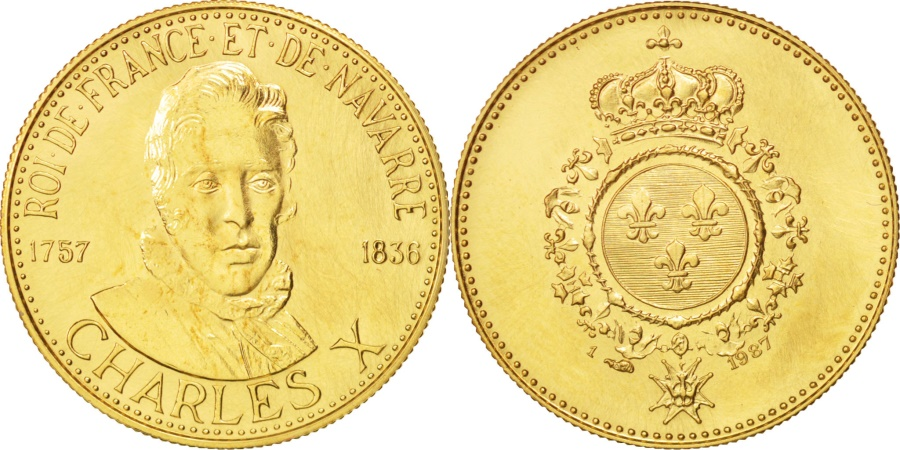 World Coins - France, Medal, Les Rois de France, Charles X, Charles X, History,