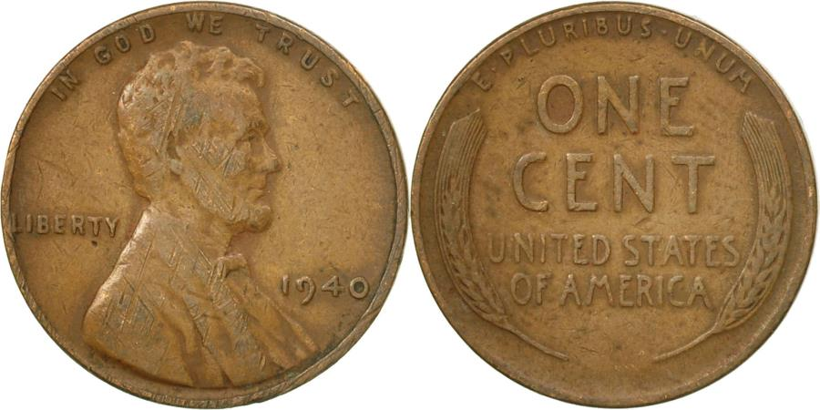 US Coins - Coin, United States, Lincoln Cent, Cent, 1940, U.S. Mint, Philadelphia