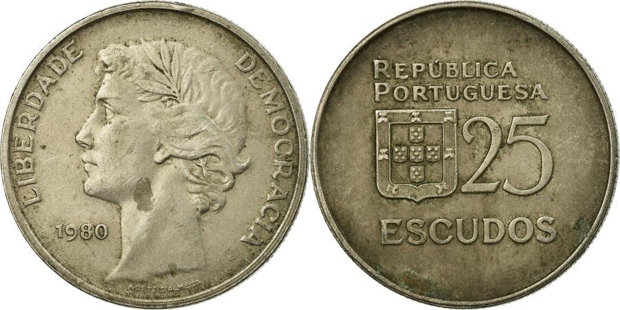 World Coins - Coin, Portugal, 25 Escudos, 1980, , Copper-nickel, KM:607a