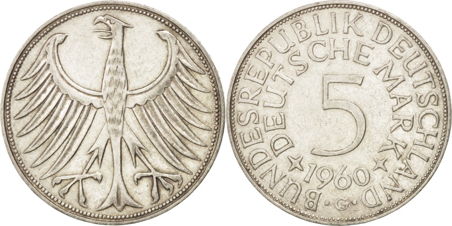 World Coins - GERMANY - FEDERAL REPUBLIC, 5 Mark, 1960, Karlsruhe, KM #112.1, ,...