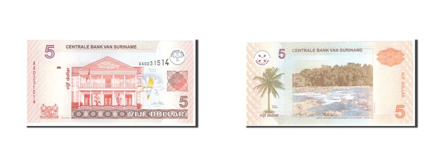 World Coins - Suriname, 5 Dollars, 2004, KM:157a, 2004-01-01, UNC(65-70)
