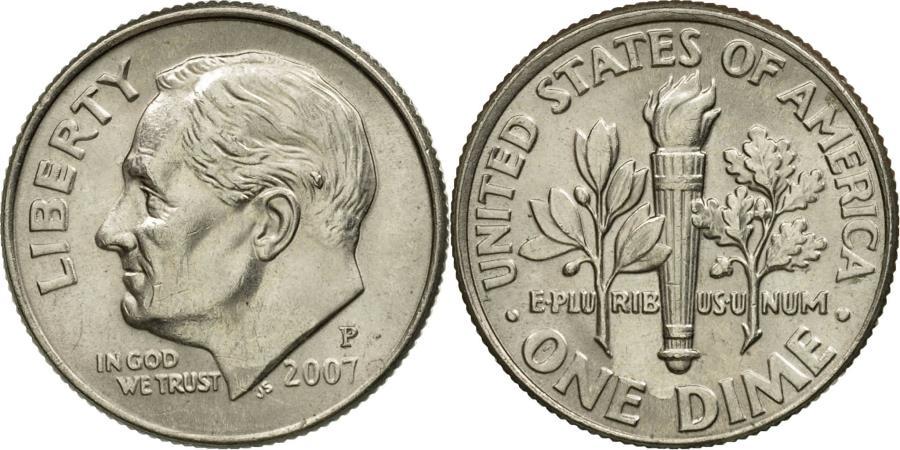 US Coins - Coin, United States, Roosevelt Dime, Dime, 2007, U.S. Mint, Philadelphia