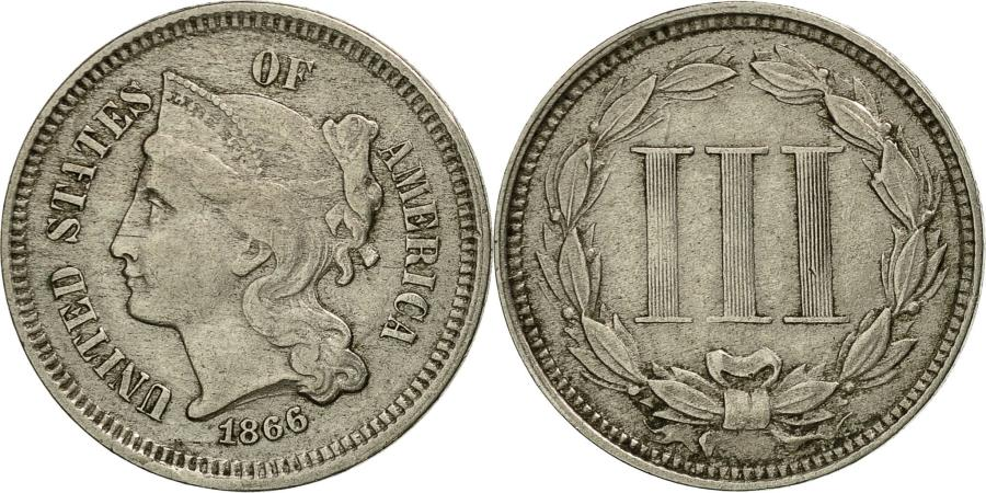 US Coins - United States, Nickel 3 Cents, 1866, Philadelphia, , KM 95
