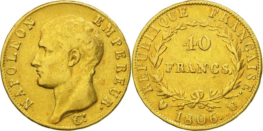 France napol on i 40 francs 1806 torino vf 30 35 for Coin torino