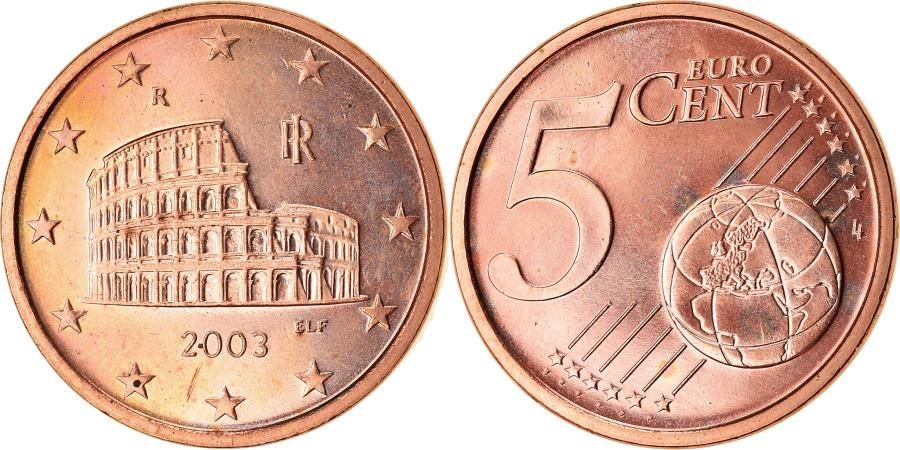 World Coins - Italy, 5 Euro Cent, 2003, AU(55-58), Copper Plated Steel, KM:212