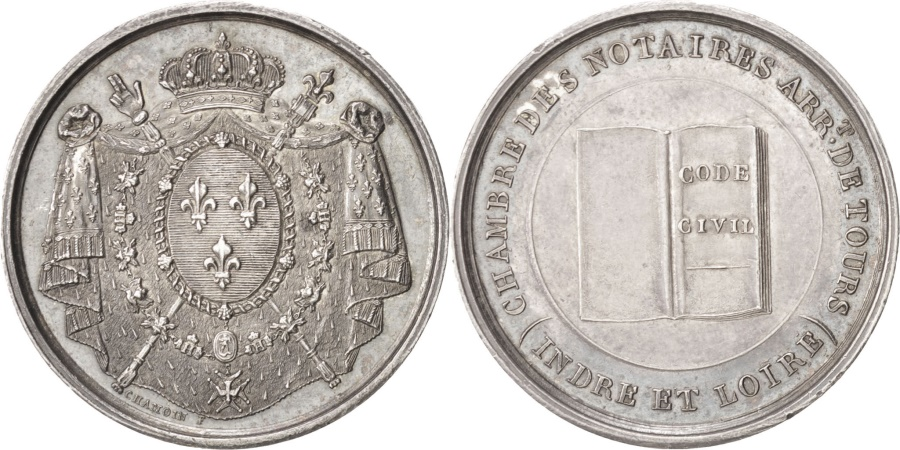 World Coins - France, Notary, Token, , Silver, 28, Lerouge #406, 8.80