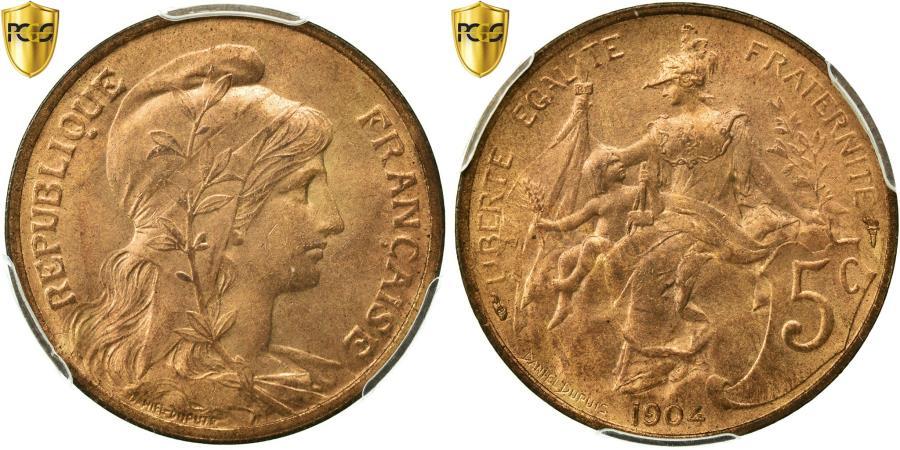 World Coins - Coin, France, Dupuis, 5 Centimes, 1904, Paris, PCGS, MS65RD, Bronze, KM:842