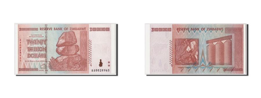 World Coins - Zimbabwe, 20 Trillion Dollars, 2008, KM:89, Undated, UNC(65-70)