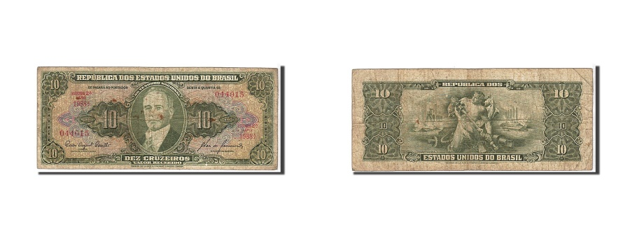 World Coins - Brazil, 10 Cruzeiros, 1953, KM #159a, VF(20-25), 044015
