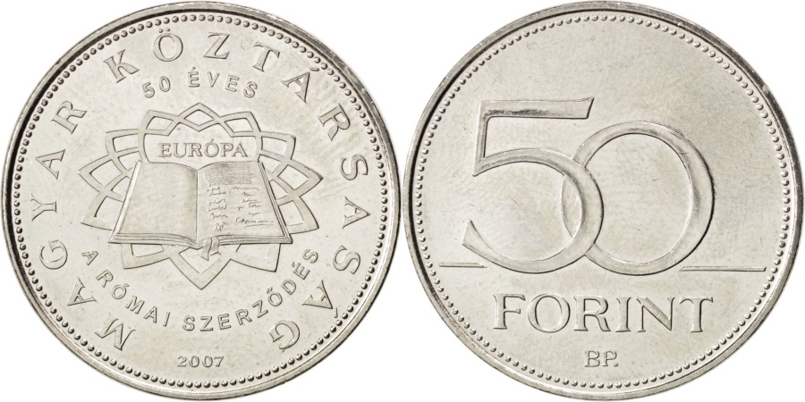 World Coins - HUNGARY, 50 Forint, 2007, KM #805, , Copper-Nickel, 27.4, 7.79