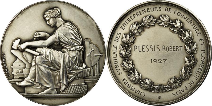 World Coins - France, Medal, Chambre Syndicale des Entrepreneurs de Couverture de Paris, 1927