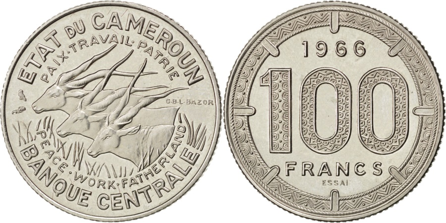 World Coins - CAMEROON, 100 Francs, 1966, Paris, KM #E11, , Nickel, 12.03