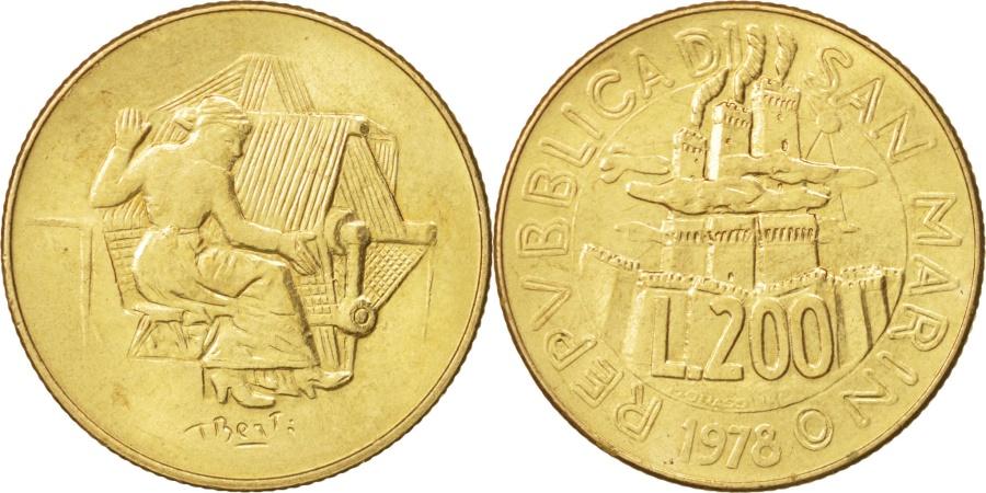 World Coins - San Marino, 200 Lire, 1978, Rome, , Aluminum-Bronze, KM:83