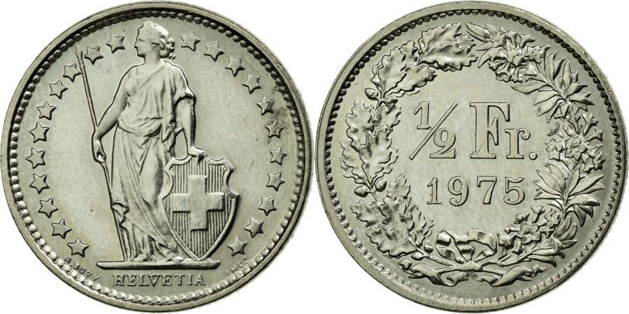 World Coins - Coin, Switzerland, 1/2 Franc, 1975, Bern, AU(55-58), Copper-nickel, KM:23a.1
