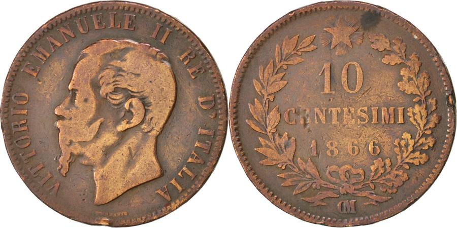 World Coins - ITALY, 10 Centesimi, 1866, Strasbourg, KM #11.5, , Copper, 30, 9.51