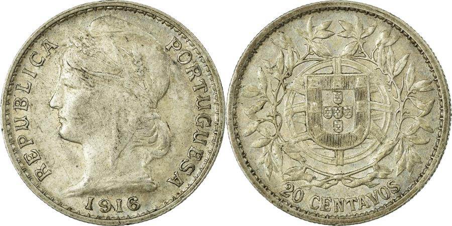 World Coins - Coin, Portugal, 20 Centavos, 1916, , Silver, KM:562