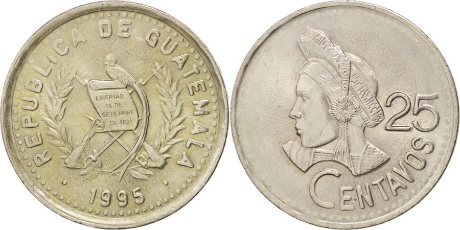 World Coins - GUATEMALA, 25 Centavos, 1995, KM #278.5, , Copper-Nickel, 27, 7.93